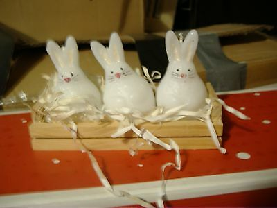 Unscented Easter Bunny Rabbit Candles In Wooden Display
