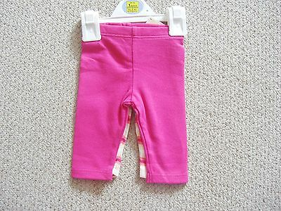 Baby girls 100% cotton two pack of leggings pink and striped from M&S