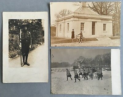 Postcards x3 - Scouts (Flag, Bicycle, Gun in the Snow)