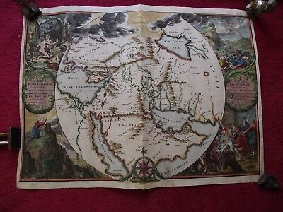 Romeyn de Hooghe hand coloured copper engraved Map of the Holy Land Circa 1700