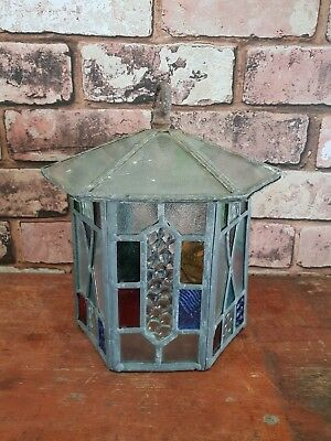 Vintage Leaded Stained Glass Multi Coloured Decorative Hanging Lantern