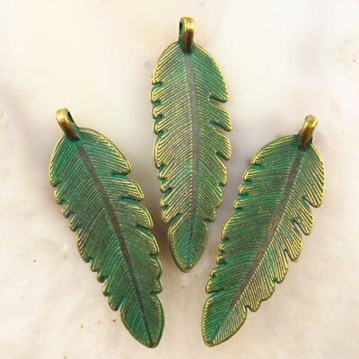 3Pcs 44x14x3mm Carved Brass Bronze Feather Pendant Bead F44213