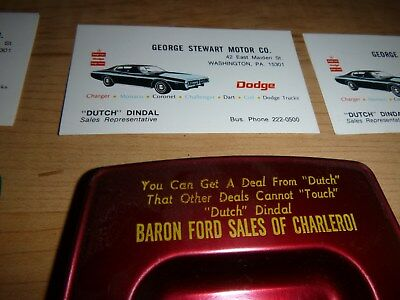 Three Baron Ford Auto Sales Charleroi PA Ashtrays Dodge plus business cards Red