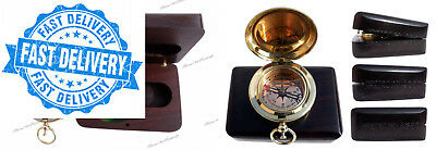 Handmade Brass Push Button Direction Compass POCKET COMPASS with Rose Wood...