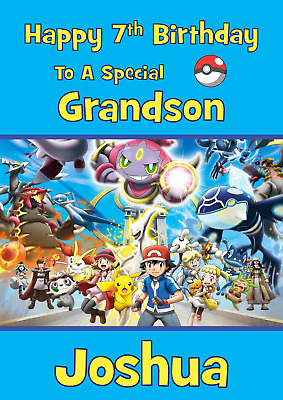 Pokemon Go Personalised A5 Birthday Card Son Grandson Brother Nephew Name Age