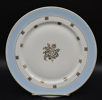 Chas Field Haviland Limoges Dinner Plate Light Blue Gold Stencil Floral Roses