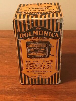 Rare Antique Rolmonica Harmonica In Original Box W/ 2 Rolls
