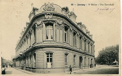 UK St. Helier Jersey - Townhall 1907 Cover to Paris France on postcard