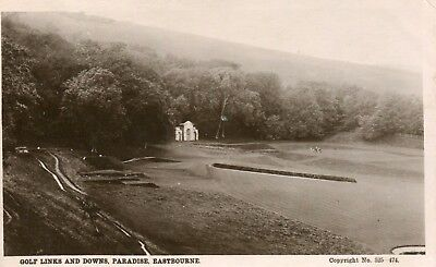 UK Eastbourne Golf Links and Downs Paradise 1910 cover real photo sepia postcard