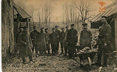 Russia Pargny - WWI Russian Army Corps POW in France in German custody postcard