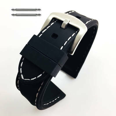 Black Rubber Silicone Replacement Watch Band Strap Buckle White Stitching #4003