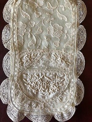 VINTAGE Normand lace piecework folder cover - bridal ring pillow cover?