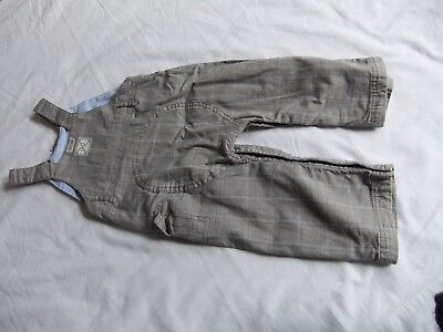 Next Boys Dungarees Blue/brown Check 12-18 Months