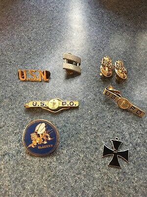 USN US Navy Petty Officer Tie clips and pin, Lot/Collection WW2 Navy Vintage