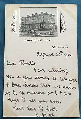 Postcard WITHERNSEA CONVALESCENT HOME (Posted 1900: Queen Victoria 1/2d stamp)