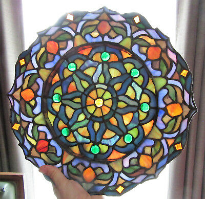 Vintage Tiffany Style Stained Gl Window Hanger Plate Dish Bowl