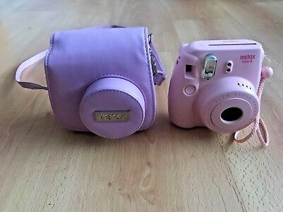 FUJIFILM Instax Mini 8 Instant Film Camera Pink with Leather carrying Case strap