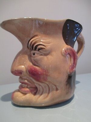 Antique Angry Face Toby Jug French Majolica Sarreguemines?