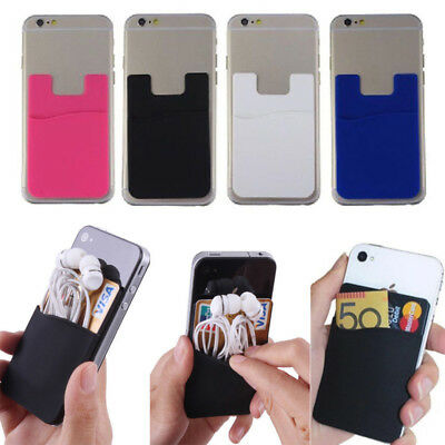 Silicone Mobile Phone Back Wallet Stick On Adhesive Cash ID Opal Card Holder NEW