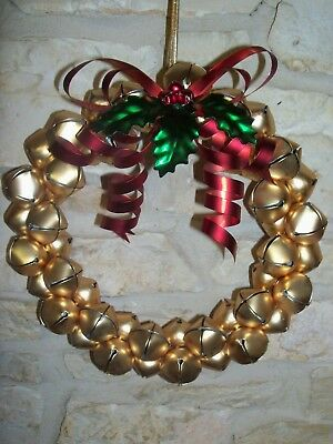 """Vintage Large 11 1/2"""" Gold Jingle Bell Wreath Beautiful Holiday Door Decoration"""