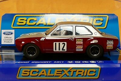 Scalextric Ford Knochen Escort MK I 1969 Broadspeed  Nr.112 silber/rot Fly Ninco