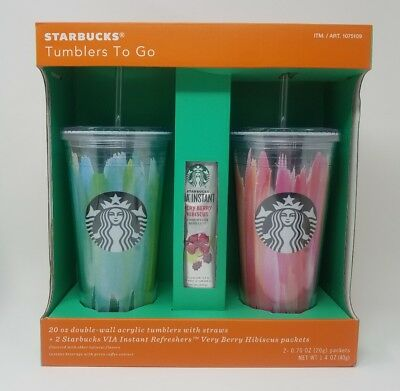 STARBUCKS TUMBLERS TO GO 20oz. ACRYLIC COLD CUP 2 PACK GIFT SET PINK & BLUE NIB