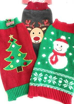 Lot Of 3 Dog Swearers Size M Pet Puppy Reindeer Christmas Tree Snowman