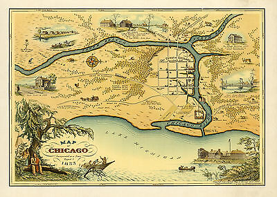 1833 Map Chicago Incorporated as a Town Wall Art Poster Vintage History