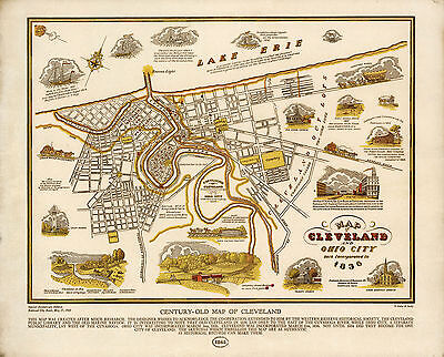 Pictorial Early Map Cleveland Ohio City Historical Home School Office Poster