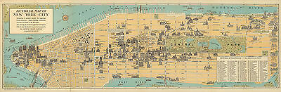 1926 Pictorial Map of New York City Historical Vintage Genealogy Wall Art Poster