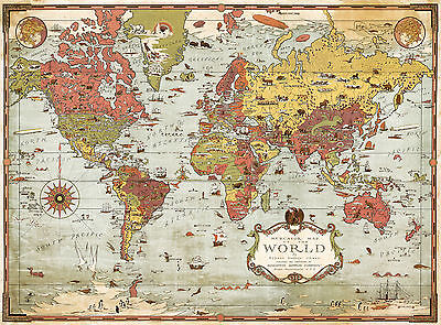 Pictorial ca1930 Mercator Map of The World History Wall Art Poster Print Decor