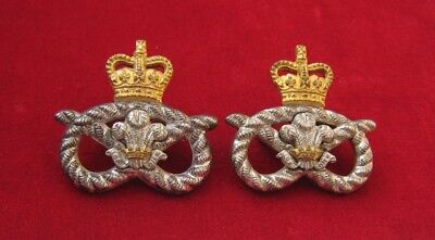 Staffordshire Regiment Officers matching pair of QC Silver & Gilt Collar Badges