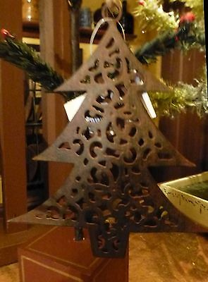 "Vintage Metal Filigree Tree Hanging Ornament 5"" x 4.5"""