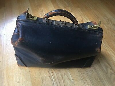 Antique Real Cowhide Leather Physician Doctors Medical Bag