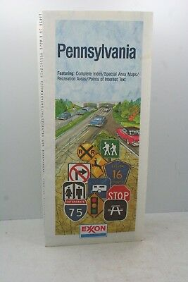 Vintage Exxon Pennsylvania Road Map