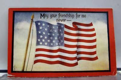 United States of America American Flag Your Friendship Never Waver Postcard Old
