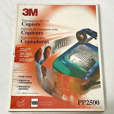 """3M Pp2500 Transparency Film For Copiers 8-1/2""""x11"""" 100 Sheets New Sealed"""