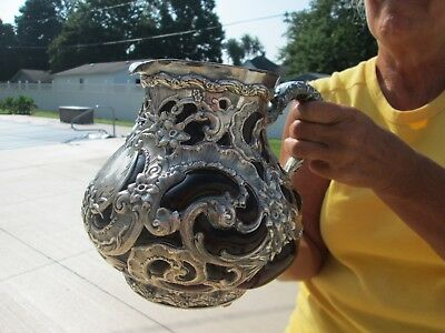 Very RARE - 1890 ART NOUVEAU - STERLING & ART GLASS - WATER PITCHER - WHITING