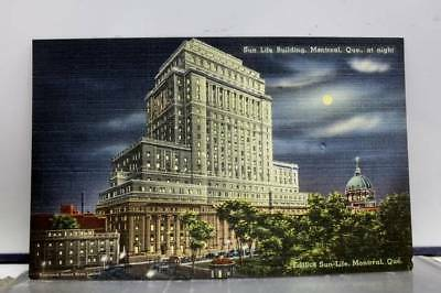 Canada Quebec Montreal Sun Life Building Night Postcard Old Vintage Card View PC