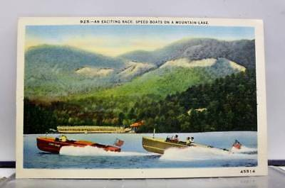 Scenic Mountain Lake Speed Boats Exciting Race Postcard Old Vintage Card View PC