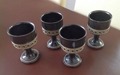 4 Vintage 1970s Jersey Pottery Table Goblets