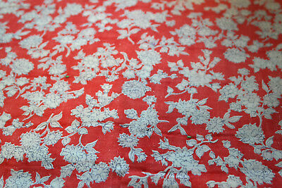 Vintage Feed Sack Flowers  Red White