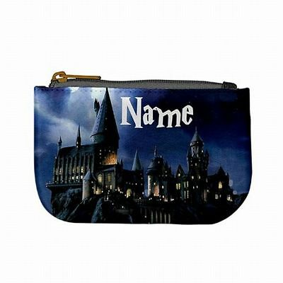 Hogwarts Castle Harry Potter Book Custom Name Coin Purse Zip Pouch Bag