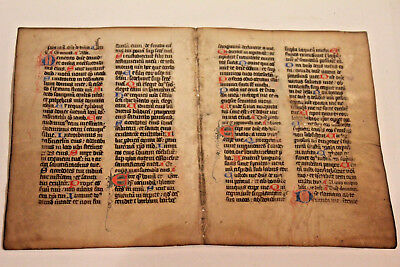 REAL XV Illuminated Medieval Manuscript double  Leaf Paris 1490 book of hours