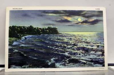 Scenic Moonlight Postcard Old Vintage Card View Standard Souvenir Postal Post PC