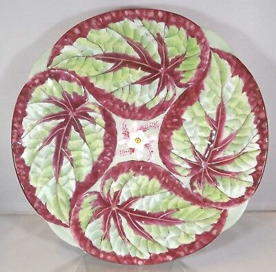 Antique Victorian Minton Majolica Plate with Coleus Leaf Style Design