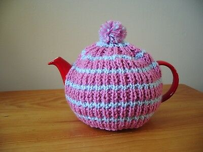 Hand knitted teapot cosy (small, fits two cup teapot)