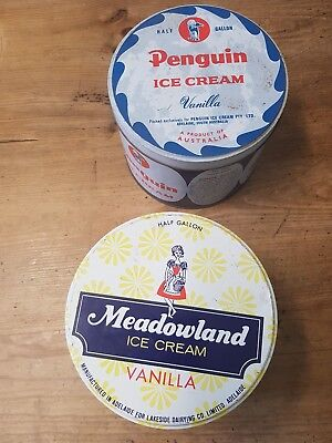 2 different icecream tins...PENGUIN, MEADOWLAND