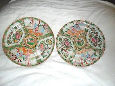 TWO (2) 19thC CHINESE FAMILLE ROSE PORCELAIN PLATES Rose Medallion QING QIANLONG