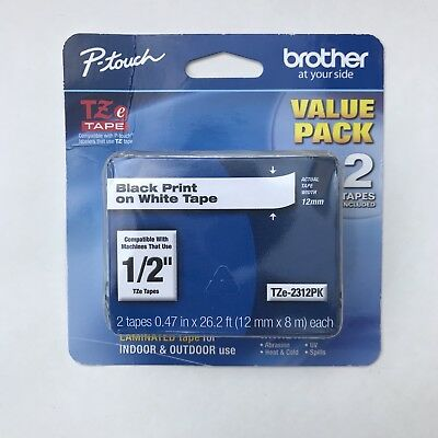 "Brother P-touch TZE2312PK 1/2"" (0.47"") Laminated Tape, Black on White -- 2 Pack"